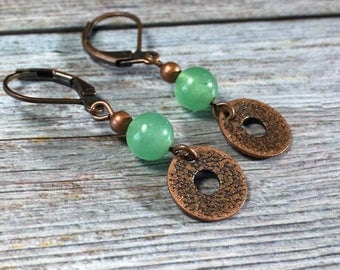 Green Aventurine stone , antique copper charm , leverback Earrings / dangle hammered disc / women girl / bohemian hippie / handmade jewelry