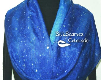 Blue, Turquoise Hand Painted Silk Shawl SILVER STARS, in 3 SIZES. Silk Scarves Colorado. Elegant Silk Gift, Birthday Gift