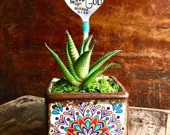 Custom Scripture Plant Marker. Potted Succulent Sign. Hand Stamped Garden Stake. In the signature Subway Poster Art Style by Sycamore Hill.