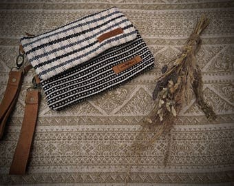 unique gift For her READY TO SHIP  Handwoven cotton Wallet purse with card pockets Phone size  Fair Trade Leather cotton