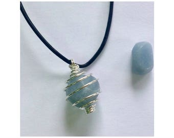 Angelite Gemstone Pendant /Necklace for Peace & Spirit Guide Connection
