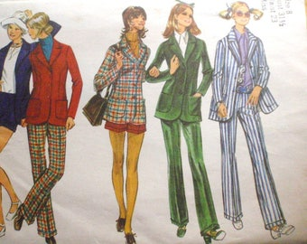 Simplicity 9599 - Cuffed Pants, Short Shorts and Fitted Lined Jacket Sewing Pattern - Size 8, Bust 31 1/2