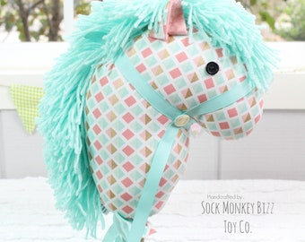 Stick Horse, Handmade Ride-On Hobby Horse Toy, Peach Aqua and Gold Geometric