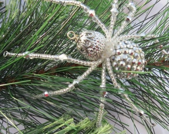 Christmas Spider Ornament in Silver color Folk Art Tale of Tinsel and Garland