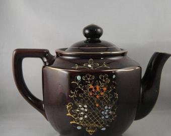 Redware Ceramic Teapot Moriage Style Design Japan