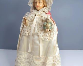 Infant of Prague Religious Statue Paladini Statuary Co. 1949 Vintage Chalkware Crown Cape