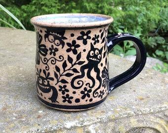 Monsters in the Garden Mug - stoneware ceramic handmade coffee cup