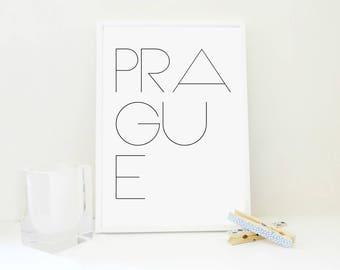 Prague Minimal Printable Art Print, Travel Print, Typography Poster, Minimal Wall Art, Travel Gift,