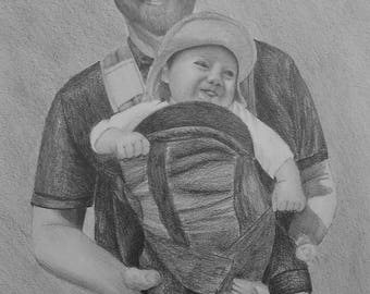 Custom Portrait From Your Photo - 5x7 Original Personalized Family Child Children Wedding Pencil Sketch Art Drawing From Photograph