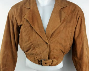 Vintage DNK Distressed 1980s Cropped Brown Leather Biker Jacket Women's Large  Made in Korea