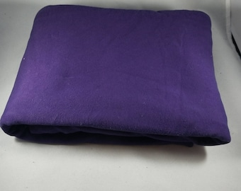 1 1/2 yards Purple Hand Dyed Organic Cotton Jersey Knit with spandex Fabric Remnant Made in the USA