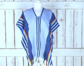 Vintage blue striped woven fringe serape poncho/tassel pullover poncho/woven knit poncho/free size
