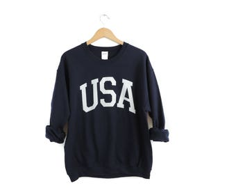 New USA Big Letter Retro Navy & White Crewneck Sweatshirt Pullover // Size S-2XL