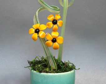 Glass Flowers - Black Eyed Susans in Mossy Ceramic Vase - Handmade Art For the Home