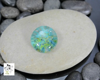 Tropical Island - Lampwork Glass Cabochon - 16mm - Jewelry Making Supply
