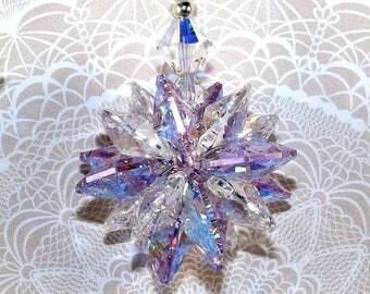 mw Swarovski® crystal, MINI Super StarBurst Star, RARE 14mm AB Violet & Clear, 16 Octagons SunCatcher Car Charm Ornament, Pearl Place N More