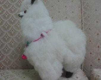 "Llama Baby Alpaca Fur 9"" So Soft Unique Extra Fine Stuffed Toys Kids Collectable Handmade New Art Peru"