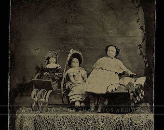 Unusual Tintype Photo Rare Display of China () Dolls 1870s - Sort of Creepy!