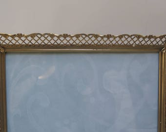Ornate 8 x 10  Brass Filigree Picture Frame / Easel Back