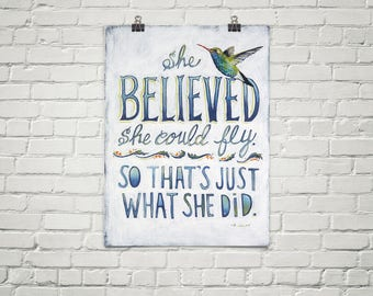 She Believed She Could Fly Poster Print, She Believed She Could So She Did, Hummingbird Gift, Inspirational Quote, Inspirational Gifts