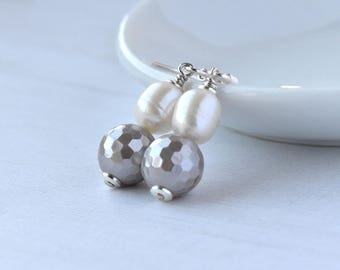 Pearl Earrings - Grey Shell Pearl - Sterling Silver - Dangle Earrings - Wedding Jewellery - Pearl Drop Earrings
