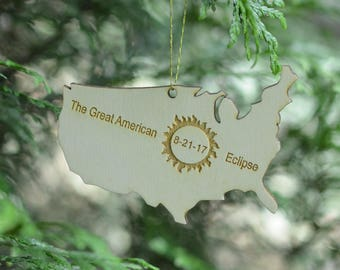 The Great American Eclipse 2017 Natural Wood Ornament