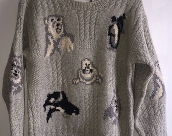 Vintage Women's Cable Knit Sweater By The Eagle's Eye Size Small Arctic Animals Wool