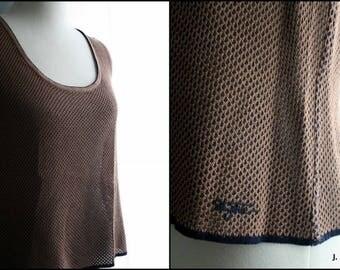 Vintage Tank Top / 90s Minimalist St. John Sport Marie Gray Silk Mesh Sweater Vest / Navy Blue and Brown / Large