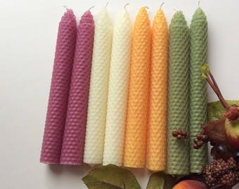 Fall Beeswax Candles - Autumn Beeswax Candles - Avocado Beeswax Candles - Mauve Beeswax Candles - Pumpkin Beeswax Candles - White Beeswax