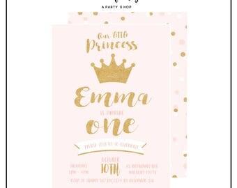 Princess Invitation -  Princess Invite - Princess Party - Princess Birthday Party // UNI - 01