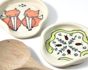 Snake Spoon Rest Full Size Spoonrest for serving and cooking snake illustration flowers and ladybugs illustration home and kitchen cute gift