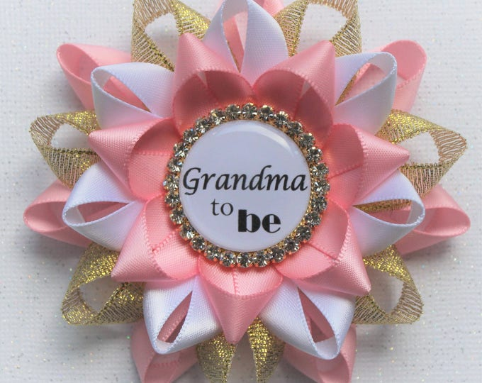 Pink and Gold Baby Shower Pin, Pink and Gold Baby Shower Decorations, Baby Shower Pins, Baby Shower Corsages, Pink, Metallic Gold, White