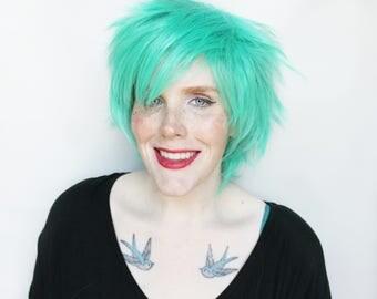 Short wig | Green wig | Short Green wig, Scene Emo wig | Green Emo wig, Short Scene wig | Cosplay wig | Rocky Mountain Pine