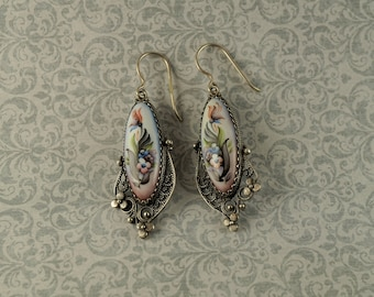 Silver and Porcelain Painted Earrings