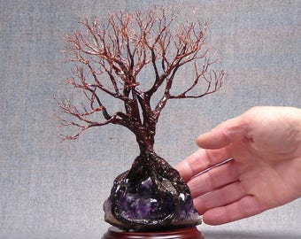Soul Mate Tree Spirits metal sculpture, The Flame of Love, Amethyst Quartz Crystal cluster with Agate, gift for her or him, unique art gift