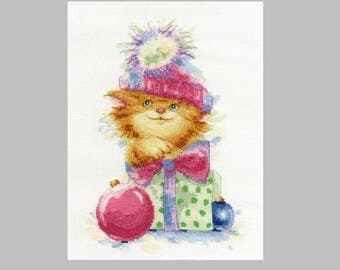 NEW UNOPENED Counted Cross Stitch Kit Golden Fleece D-062 Red surprise Cat Kitten