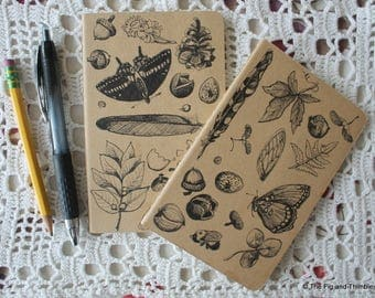 Nature Notebooks - Set of Two Hand Illustrated Pocket Moleskine Notebook / Journal