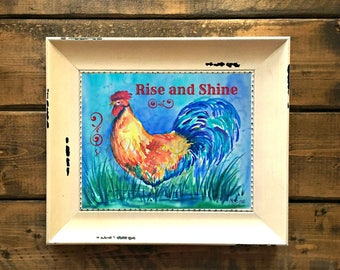 Rooster PRINT, Country Kitchen, Rooster Art,Rooster Watercolor, Rise and Shine, Customize, Kitchen Art, Rooster Art, Art With Heart