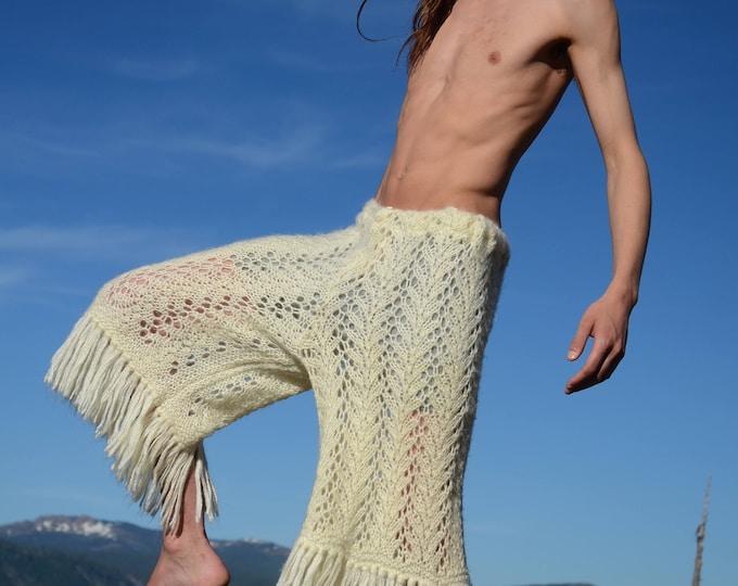 Crochet Shorts 3/4 Length Fringed Knits Ivory