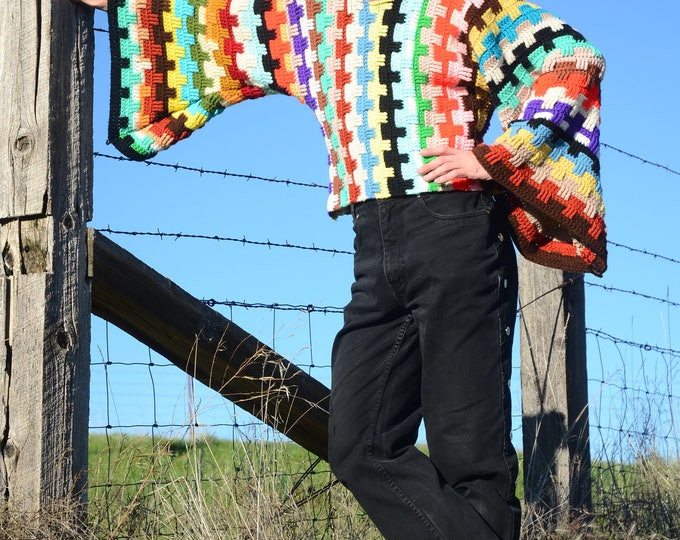 Crochet Sweater Tetris Stripes and Bell Sleeves