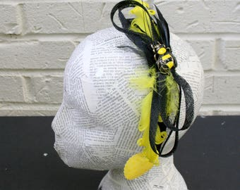 Yellow and Black Fascinator Hat, Posh Retro Style on an Easy to Wear Headband, Whimsy Bee Hat