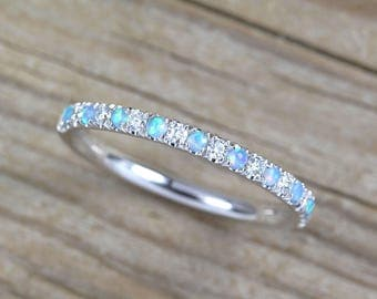 Opal and Diamond Eternity Band, Opal Ring, Eternity 1.5 mm Wedding Band, Thin Opal Wedding Ring, Opal Band, Opal Stacking Ring, Promise Ring