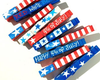4th of JULY party favors red white and blue stars and stripes American flag  hand painted magnetic clothespin set of 10 Independence Day