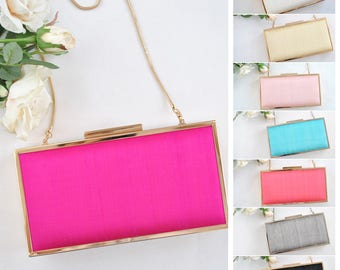 SILK CLUTCH - Large box clutch - Shocking pink/Off white/Ivory/Pale pink/Blue/Coral/Gray/Black