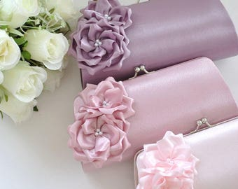 Lilac / Dusty Rose / Pale Pink - Bridesmaid Clutch / Bridal clutch / Wedding clutch / Custom clutch