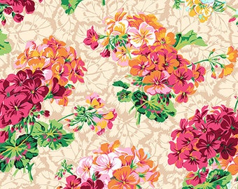 Geranium Floral Quilting Fabric, Pelargonium in Spring PWSL055, ENGLISH GARDEN, Snow Leopard,Philip Jacobs, Free Spirit Fabrics, By the Yard