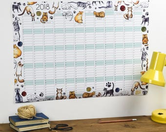 Large 2018 Wall Calendar And Year Planner - Cats wall planner 2018 - Cat year wall planner - Cats Daily planner