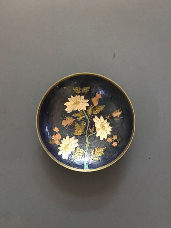 brass oval floral etched enamel dish plate bowl | india