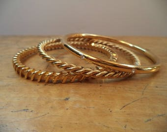 Collection of 3 Signed JBK GP Gold Crystal Rhinestone Bangle Bracelets by Camrose and Kross