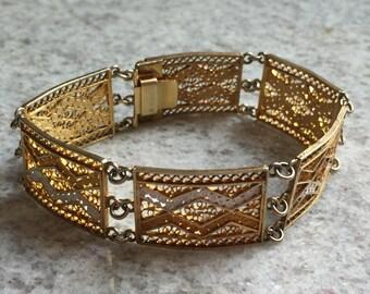 Gold Filigree Panel Bracelet, Stamped 800, Tribal, vintage jewelry